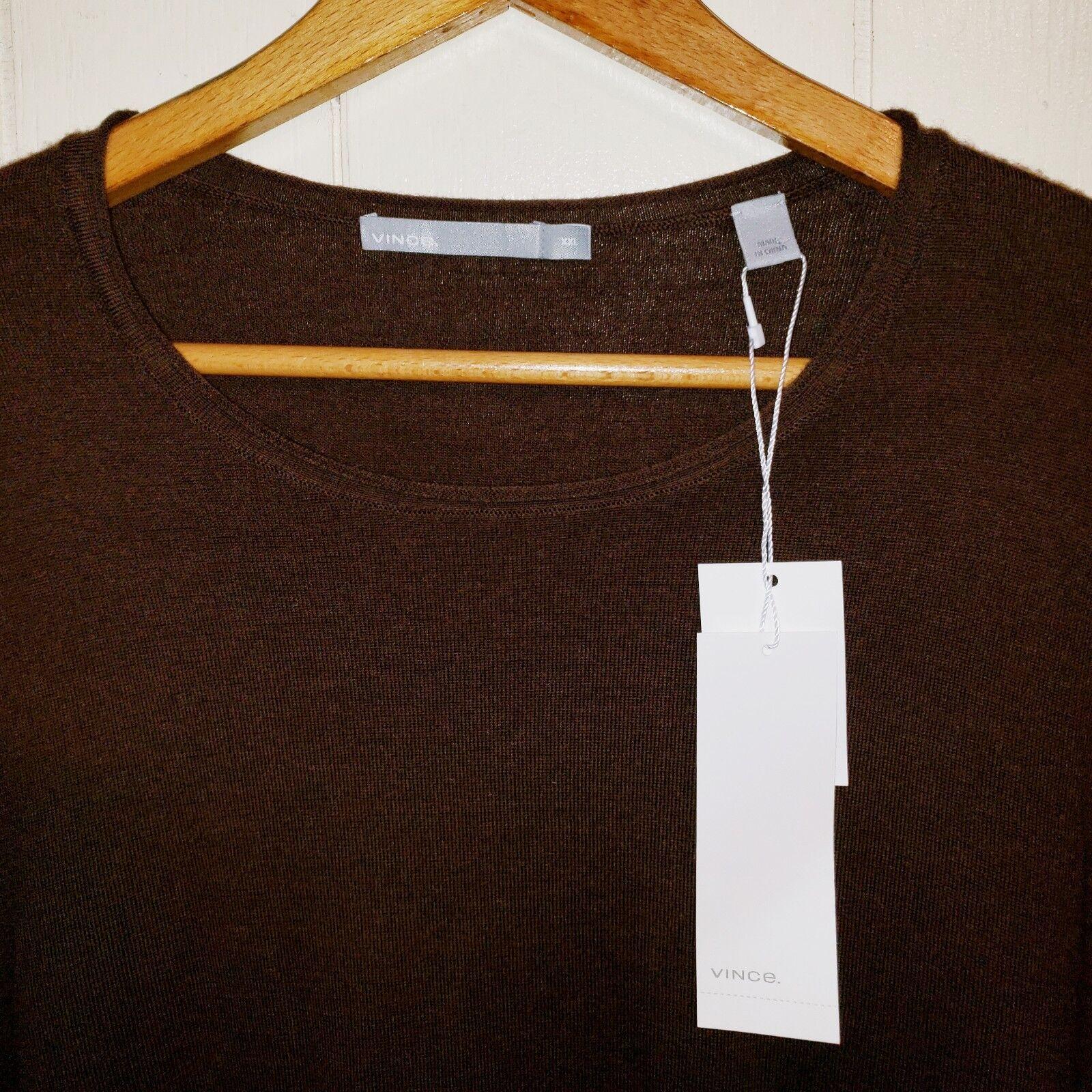Vince Wool Cashmere Sweater Shirt Mens 2XL NEW  285.00 Brown