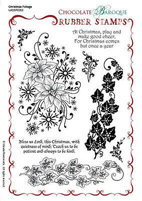 Chocolate Baroque Unmounted Rubber Stamps Christmas Foliage
