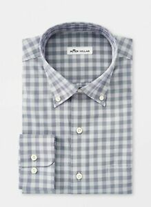 Peter-Millar-Mens-Shirt-Blue-Size-Large-L-Plaid-Print-Button-Down-129-597