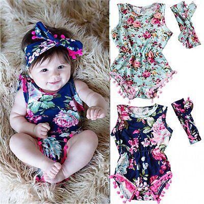 Newborn Infant Kid Girl Baby Floral Romper Bodysuit Sunsuit Jumpsuit Outfiit Set