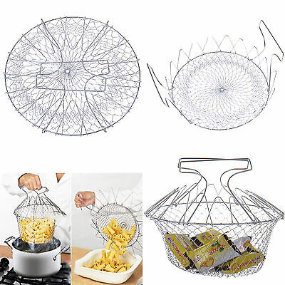 NEW Foldable Steam Rinse Strain Strainer Net Kitchen Frying Basket Cooking Tools