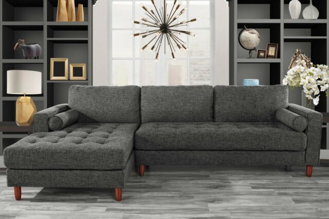 Classic Fabric Sectional Sofa, L-Shape Couch with Extra Wide Chaise, Dark  Grey