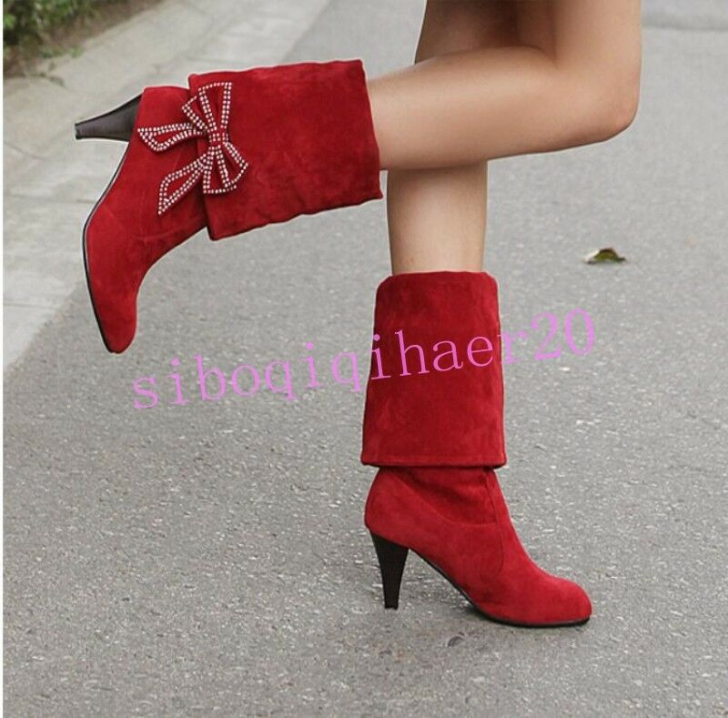 Sweet Womens Mid-Calf Boots New Bowknot Pull On Chunky Heel Faux Suede shoes US8