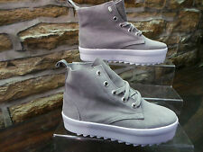 Ladies SHELLEY LONDON GREY SUEDE CREEPER STYLE HIGH TOP BOOTS UK 6 ONLY £25 NEW