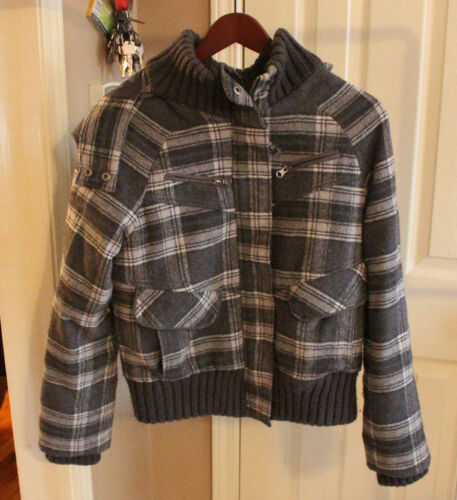 Plaid media Shop Poly grigio lana Woman's Coat Nero Zip Coffee Blend Tgwq1OYY