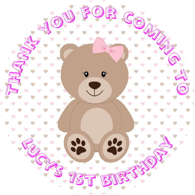 personalised 1st birthday gloss teddy bear stickers label pink