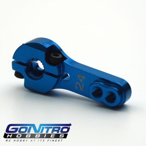 Go Nitro Hobbies 24T 2 Hole Aluminum Heavy Duty Servo Arm Blue Hitec