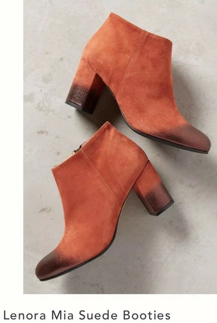 NEW Anthropologie Lenora Mia Red Suede Boots Size 38 Booties