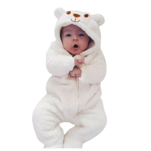Newborn Infant Baby Boy Girl Hooded Cartoon Flannel Romper Jumpsuit Warm XI