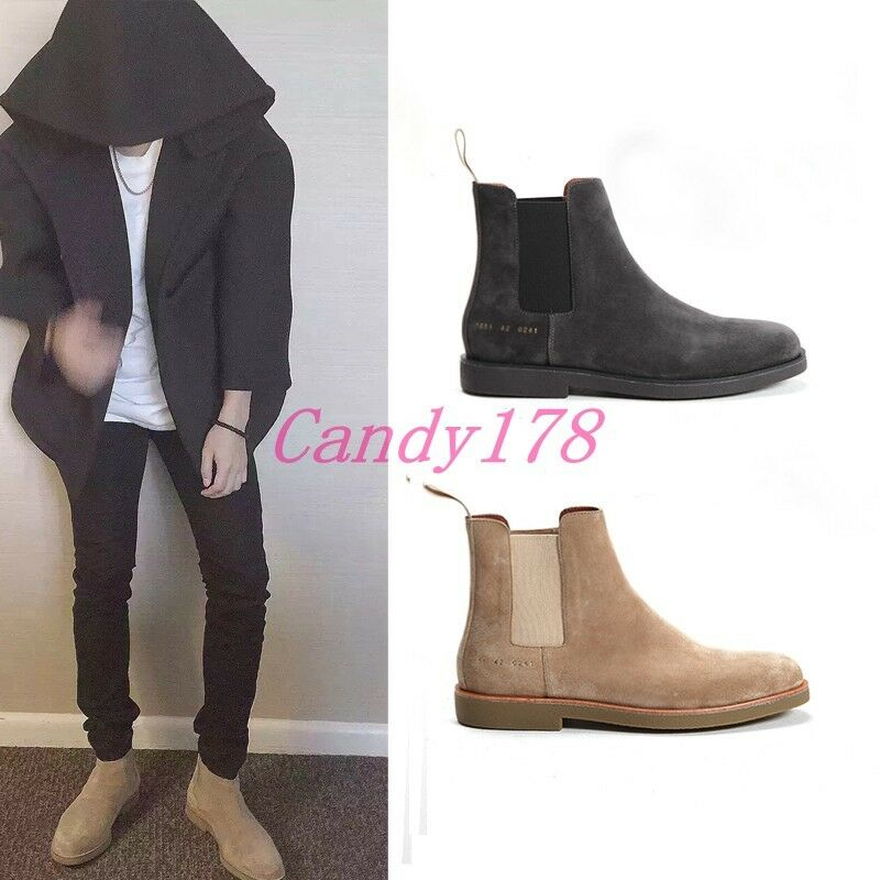 Vinatge Mens Suede Leather High Top shoes Pull On Chelsea Ankle Boots Pointy Toe