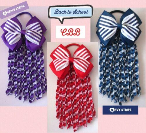 BN Handmade Girls Red /& White Double Hair Bow Bobble Spiral Ribbon School