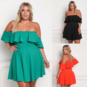 Women-Plus-Size-Off-Shoulder-Clubwear-Ruffle-Party-Cocktail-Frill-New-Mini-Dress