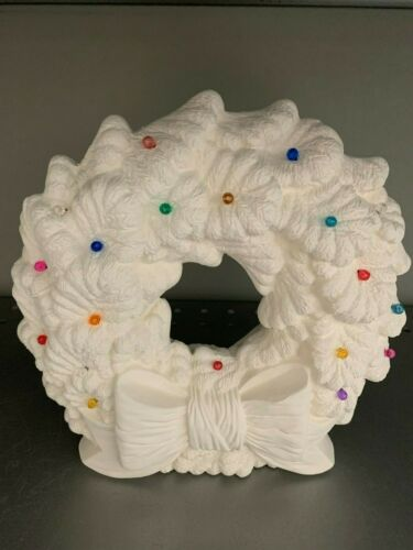 Christmas Wreath with PINLIGHTS /& Light Kit   *Ceramic Bisque Ready to Paint