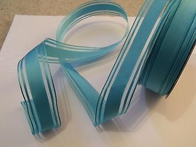 Luxury Wire Edged Ribbon  ** LOW STOCK ** BLUE CANDY Stripe Stripes Blues Aqua