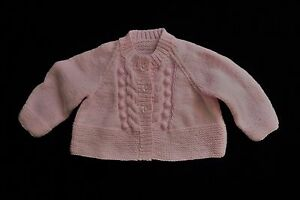 Baby clothes GIRL 0-3m pink hand-knitted soft cardigan patterned SEE SHOP!