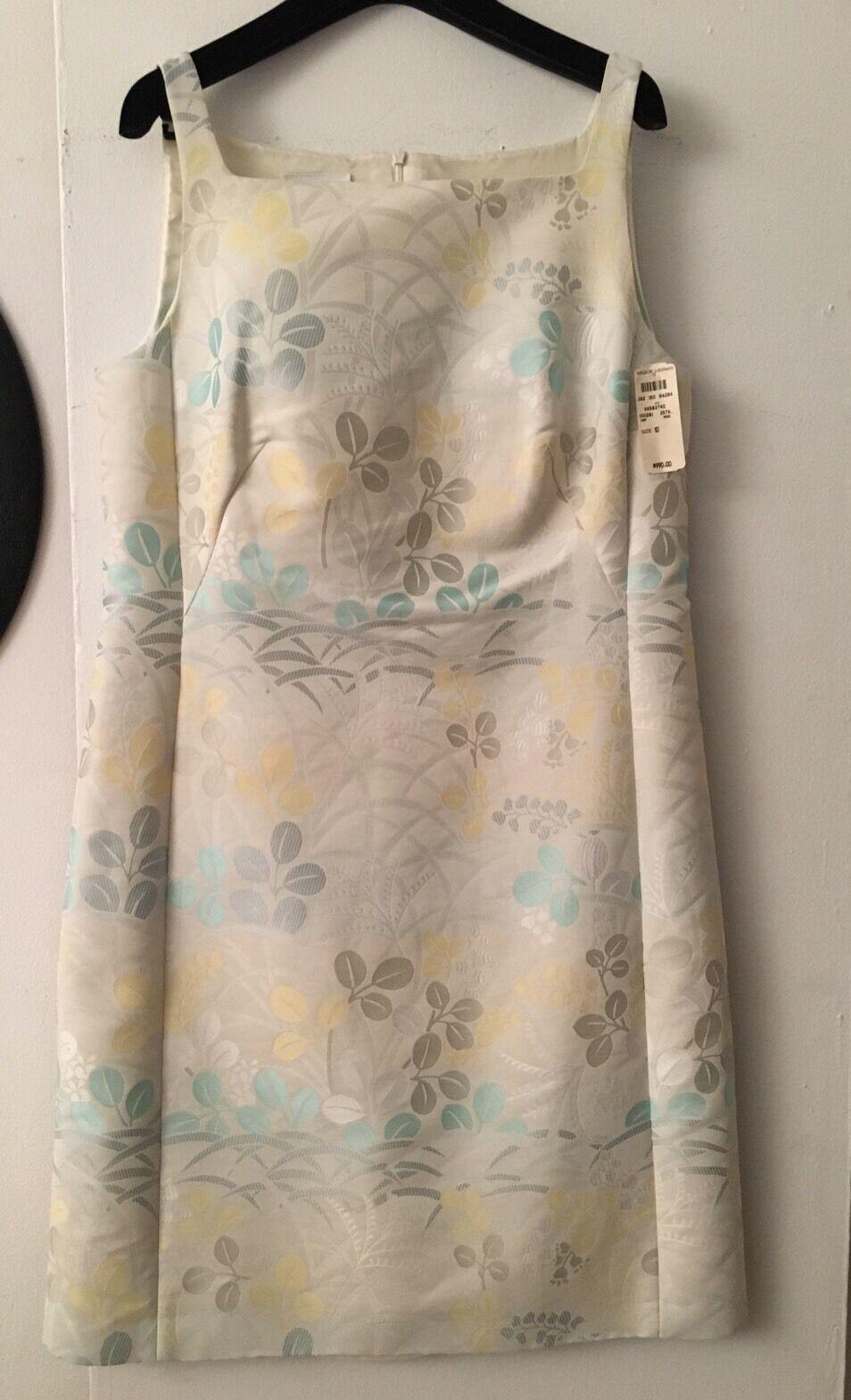 Nuevo Con Etiquetas Auth Akris Punto Beige Algodón Vestido  sin mangas floral de plata nos Sz 10 FR 42  primera vez respuesta