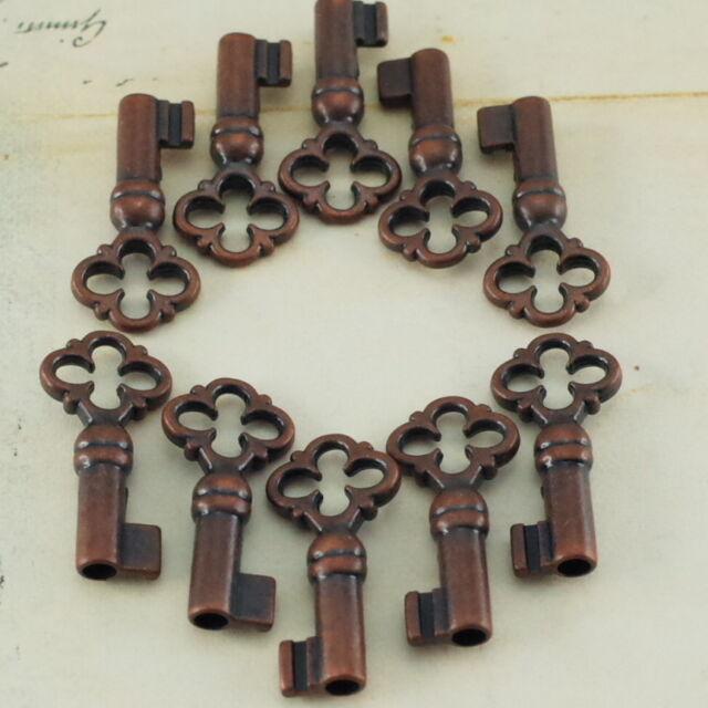 Old Vintage Antique Style Keys Skeleton Open Barrel Keys Antique Copper Color-10