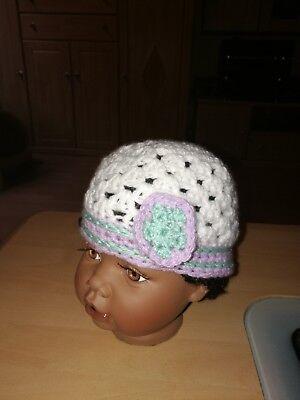 Mütze Babymütze Gestrickt/gehäkelt Handarbeit Mit Blüte Neu