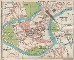 SHREWSBURY. Vintage town city map plan. Shropshire 1930 old vintage ...