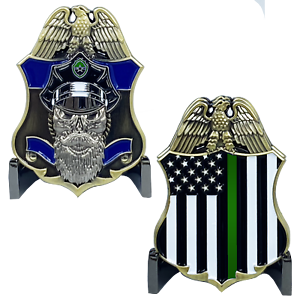 BD-002 Thin Blue Line and Thin Green Line Big Medallion Police Challenge Coin CBP Border Patrol Sheriff
