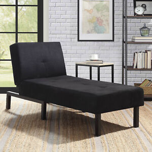 Black-Chaise-Lounge-Chair-Day-Bed-Sleeper-Sofa-Fiat-Bed-Lounger-Bedroom-Couch