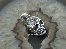 Ketten Anhänger Totenkopf Skull Tribal Gothic Celtic Silber 925 Black Crystal