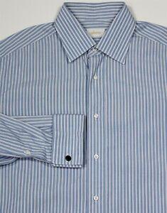 Brioni-Ces-Dernieres-Bleu-Blanc-Raye-Francais-Manchette-Robe-Coton-Chemise-41