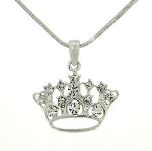 Crown w swarovski crystal queen king princess pendant necklace image is loading crown w swarovski crystal queen king princess pendant aloadofball Choice Image