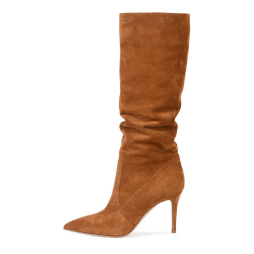 Women Stiletto Heel Suede Pleated Knee High Boots Pointed Toe Pull On Boots Shoe