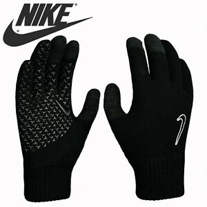 Nike-Mens-Kids-Gloves-Knitted-Touch-Screen-Running-Childrens-Boys-Adults-Black