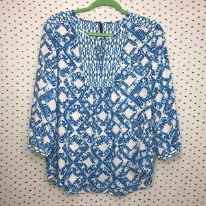 NYDJ-Small-Mixed-Print-Blue-amp-White-Peasant-Blouse-Keyhole-Neckline-3-4-Sleeve