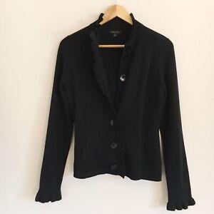 Semantiks-Womens-Size-Medium-Black-Merino-Wool-Blend-Ruffle-Cardigan-Sweater