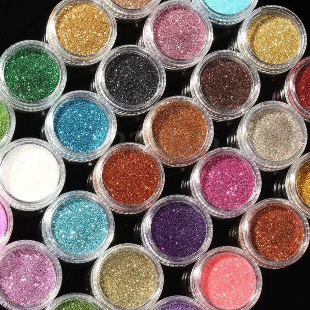 30 Colors Set Glitter Spangle Eye Shadow Powder Pigment Kit Makeup Bling Mix CA