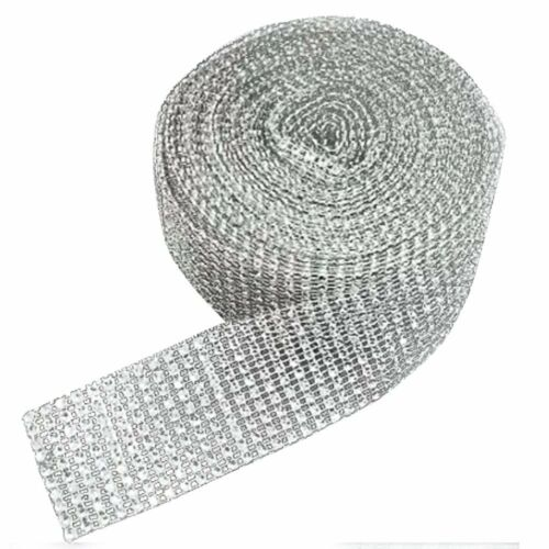 SILVER DIAMOND DIAMANTE EFFECT RIBBON TRIM CAKE BRIDAL CRAFT 1 METRE LENGTH