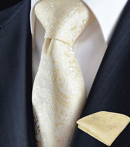 Mens-Tie-Satin-Cream-Woven-Champagne-Gold-Silk-Floral-Paisley-102