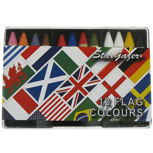 Make-Up-Face-Body-Crayons-Stargazer-Party-Pencils-Cosmetic-Liner-12-Flag-Colours