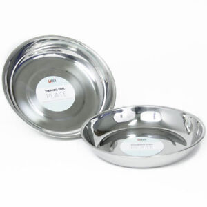 16-28cm Stainless Steel Round Dinner Plate Dish Outdoor Picnic Camping Tableware