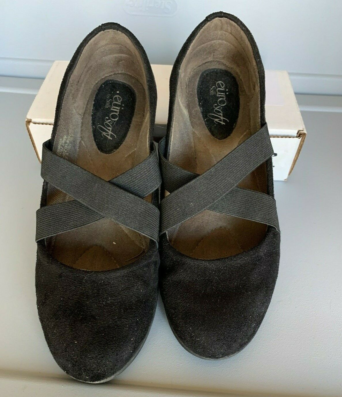 Womens Euro Soft By Sofft Black Suede Elastic Tie Mary Jane Casual Flats US 6.5M