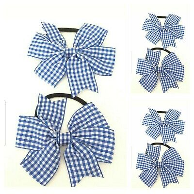 Handmade Girls School Hair Bow Bobbles Sold In Pairs