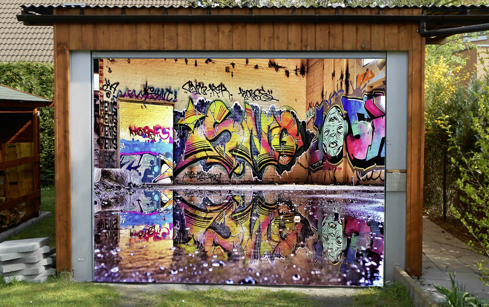 3D Graffiti 340 Garage Porta Stampe Parete Decorazione Murale AJ WALLPAPER IT