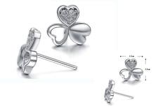 Super Sparkling *Four-leaf Clover* Silver GP Cubic Zirconia Stud Earring