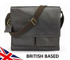Mens Genuine Leather Messenger Bag Satchel Laptop Case