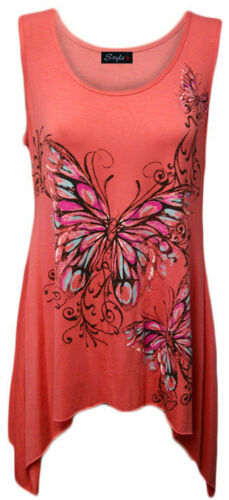 Ladies plus size butterfly print hanky hem sleeveless long womens top