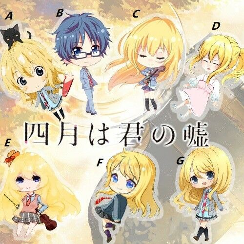 Ton mensonge en avril Miyazono Kaori Anime Acrylique Porte-clés sangle de Suspension 6 cm Mignon