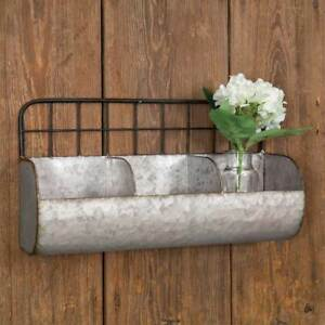 Galvanized Metal & Wire Back Large Wall Pocket - Divided Bins - Farmhouse Decor