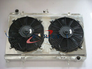 3-Row-Aluminum-Radiator-for-alloy-Nissan-Silvia-S13-SR20DET-Fan-Shroud-fan