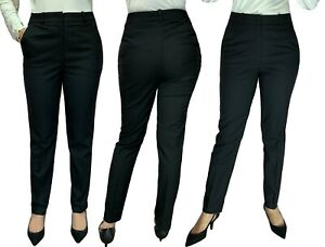 Details about Women ladies black trousers for Office work wear classic slim fit formal wear