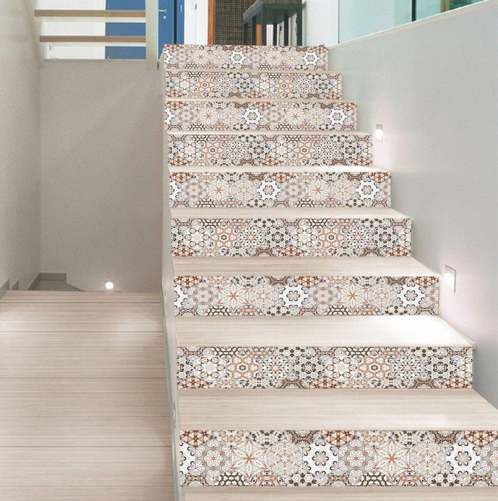 3D Boa Floral Texture 2 carrelage marbre escalier contremarche Décoration Murale Vinyle Papier Peint