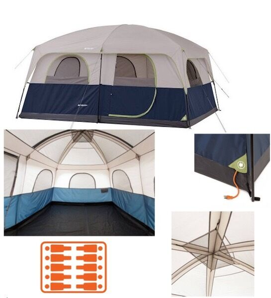 Family Cabin Camping Tent Two 2 Room 10 Person Waterproof Large Dome Heavy Duty