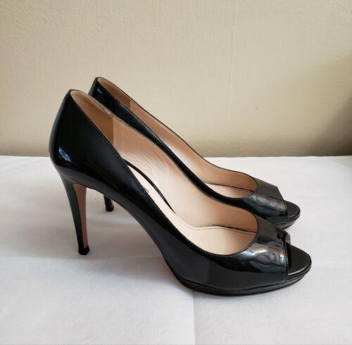 PRADA Patent Leather Pumps Black Platform Heels Au